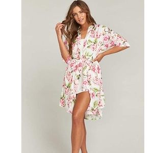 Show Me Your Mumu Floral Robe O/S Pink Green White